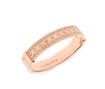 Michael Kors  (TWO) piece Set Rose Gold Tone Pave Monogrammed Huggie Earrings & Hinged Cuff Bracelet.