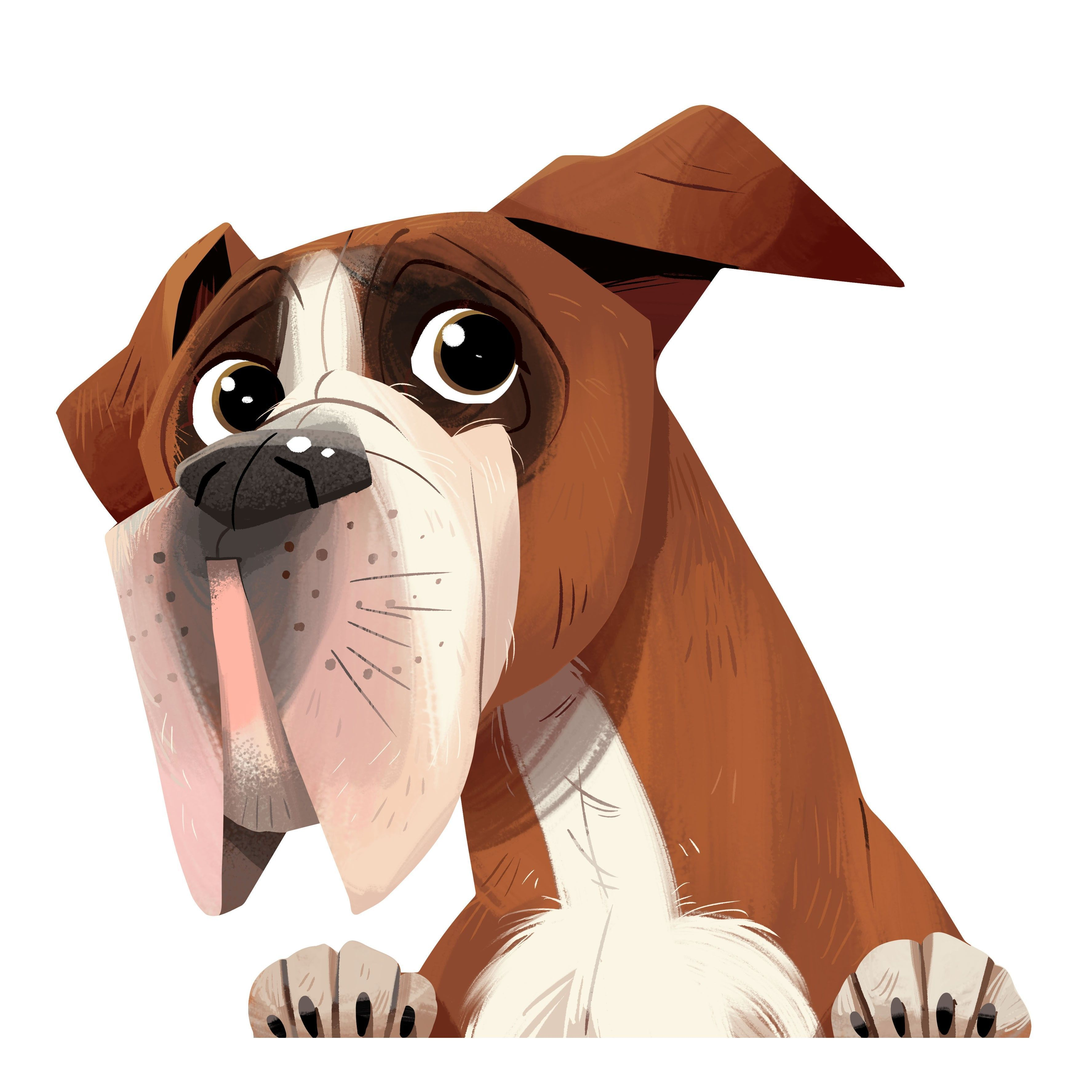 Boxer Dog Car Sticker Decal Boxerdog Dog Caricature Dog Illustration Boxer Dogs [ 3550 x 3550 Pixel ]
