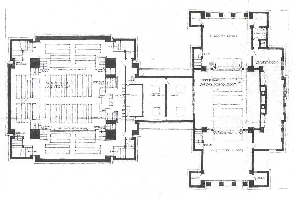 Wright s plan for the unity temple in oak park 1905 07 for Frank lloyd wright floor plan