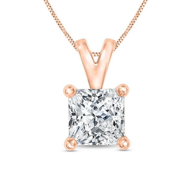 1 Ct Certified Princess Cut Diamond Solitaire Pendant In 14k Rose