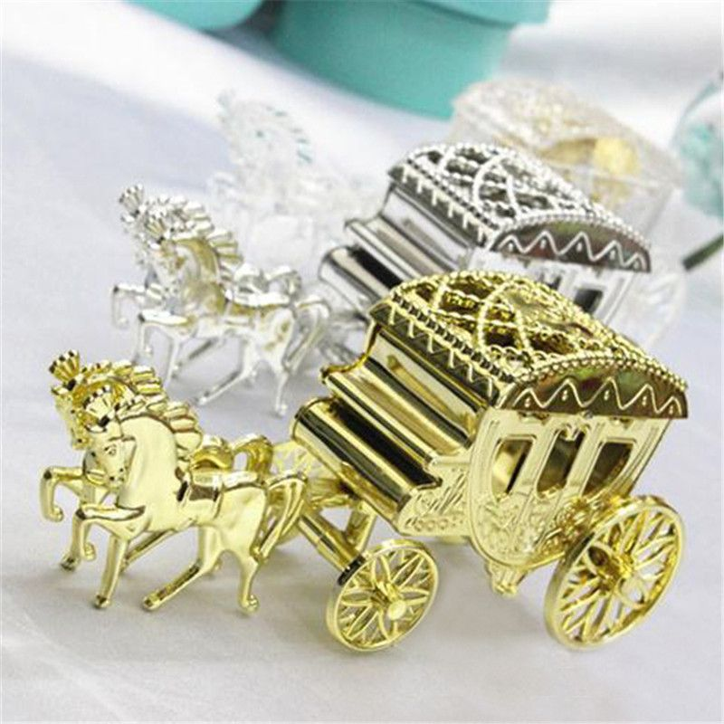 Clear Gold Silver Carriage Wedding Favor Boxes