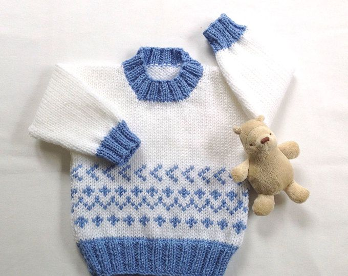 1ec13eedd Fair Isle baby sweater - 6 to 12 months - Knit baby jumper - Baby ...