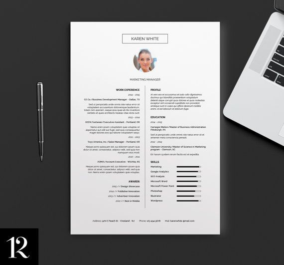 Resume Template  Cv Template  Cover Letter  BW Resume Design