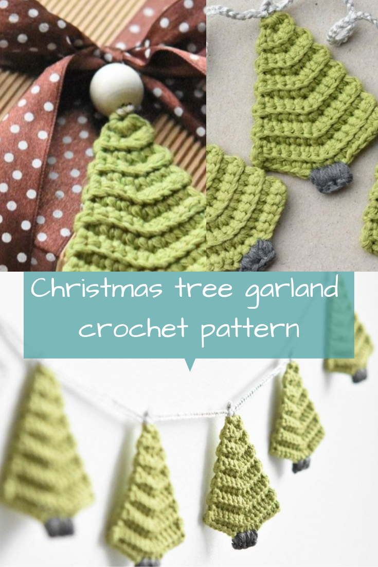 Christmas Tree Garland Crochet Pattern By Lilleliis Christmas Crochet Patterns Crochet Christmas Trees Ornaments Christmas Crochet