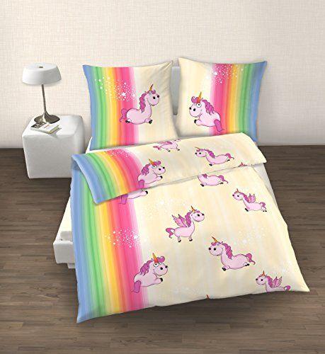 2 Tlg Bettwaren Wäsche Matratzen Bettwäsche Einhorn 135x200
