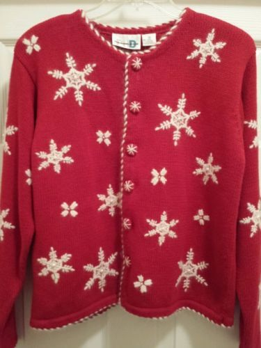 ugly christmas sweater red white paul harris angora pearl snowflake cardigan in clothing shoes accessories ebay - Ebay Ugly Christmas Sweater