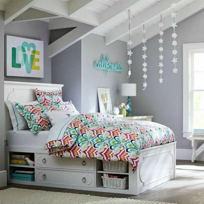 8 Habitaciones en gris y turquesa   Bedrooms   Teen bedroom, Girl ...