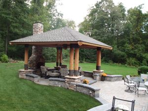 patio with fireplace multi level paver patio with stone fireplace and bungalow - Multi Level Patio Designs
