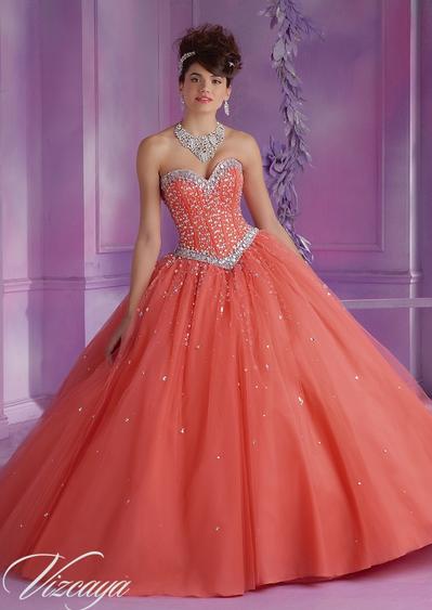 39955874e81 Vizcaya Sparkly Orange Salmon 15 Dress