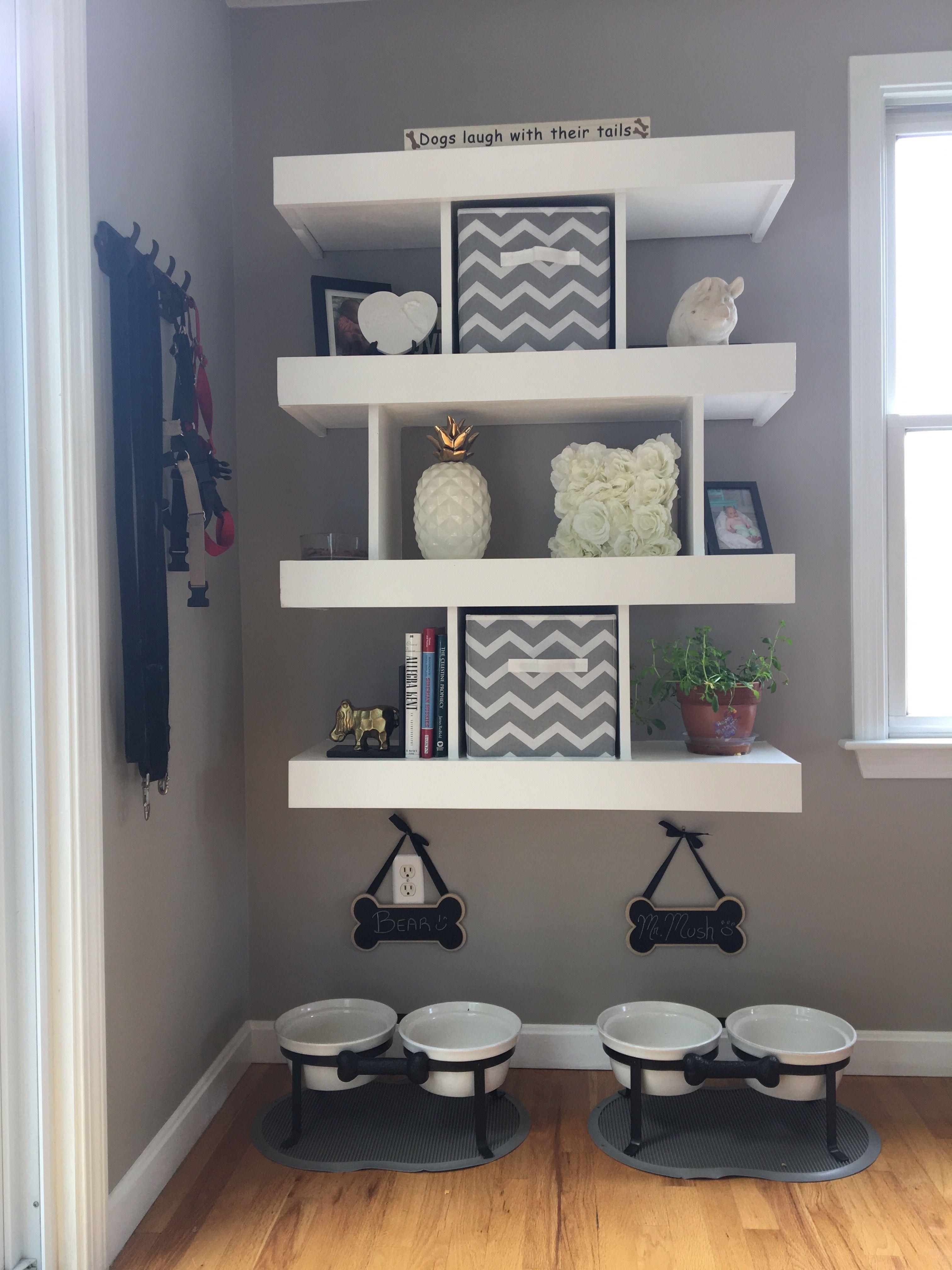 Organization shelves for indoor dog area Dog home decor