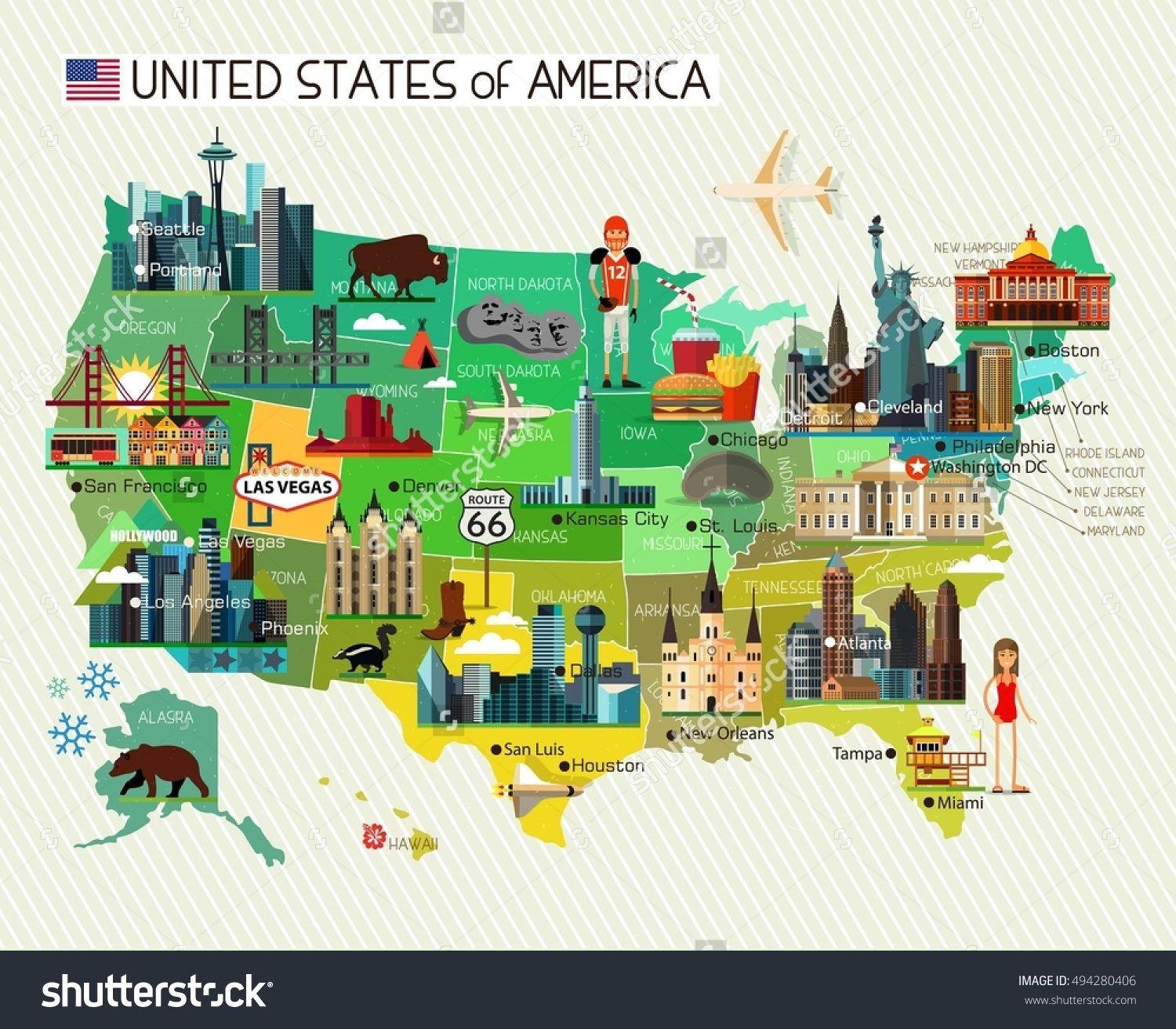 Map of the United States of America and Travel Icons. USA ...