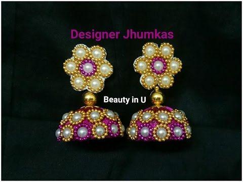How to make Designer Bridal Silk Thread Earrings/Jhumkas at Home ...