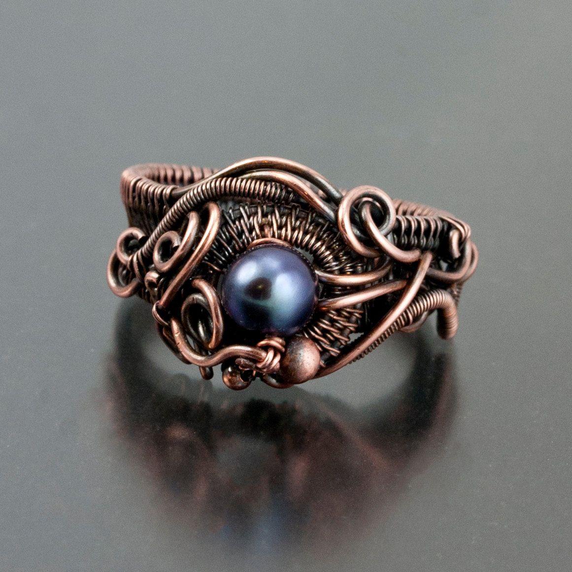 CUSTOM ORDER -Ocean\'s Breath Ring in Copper | Pinterest | Ring, Wire ...