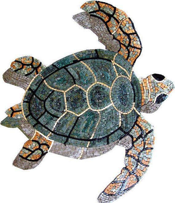 Sea Turtle Marble Mosaic Mosaic Marble Mosaic Mosaic