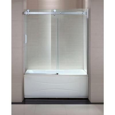 Schon Judy 60 In X 59 In Frameless Sliding Trackless Tub Shower Door In Chrome With Clear Glass Sc7 Tub Shower Doors Sliding Shower Door Tub And Shower Doors