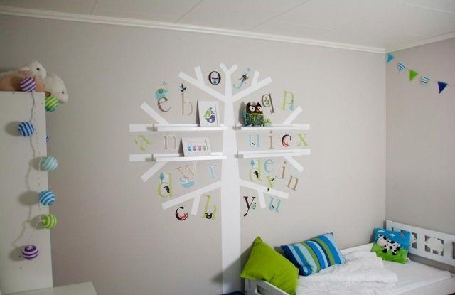 Wandfarben Ideen Kinderzimmer Junge Hellblau Deko Baum Wandregale
