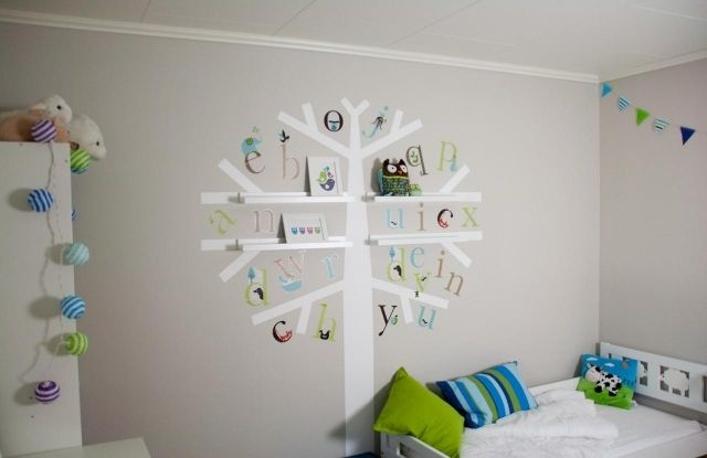 Kinderzimmer junge baby deko  wandfarben ideen kinderzimmer junge hellblau deko baum wandregale ...