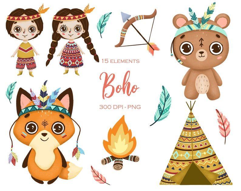 Cute Boho Animals Clipart Woodland Animals Clipart Forest Etsy In 2021 Clip Art Animals Clipart Woodland Animals Clipart