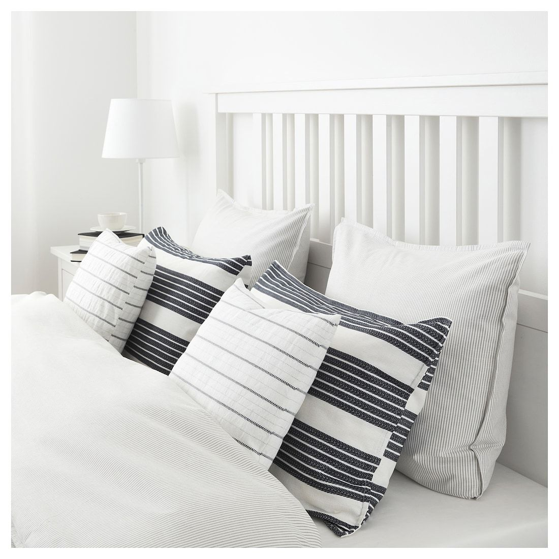 "METTALISE Cushion cover white, dark gray 16x26 "" (With"