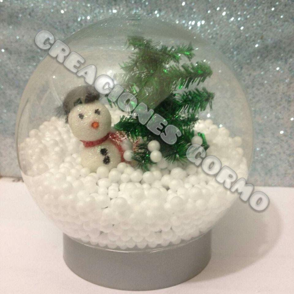 Bola de nieve navide a casera sin agua adornos de - Bola nieve navidad ...