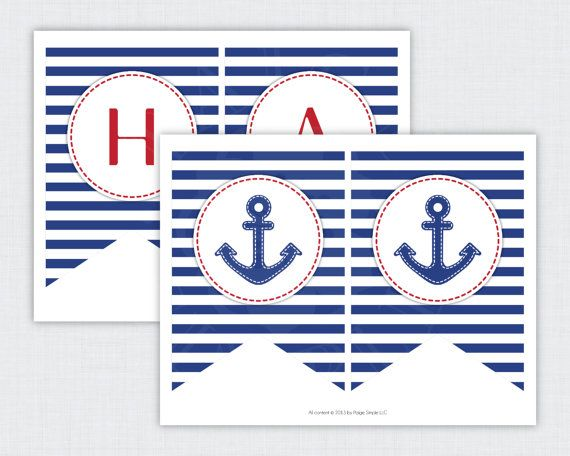 INSTANT DOWNLOAD Printable Anchor Happy Birthday Banner