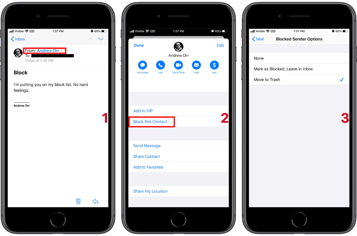 iOS 13 How to Block Email From Certain People Inbox