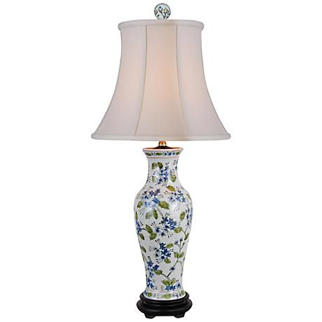 Green And Blue Floral Porcelain Vase Table Lamp