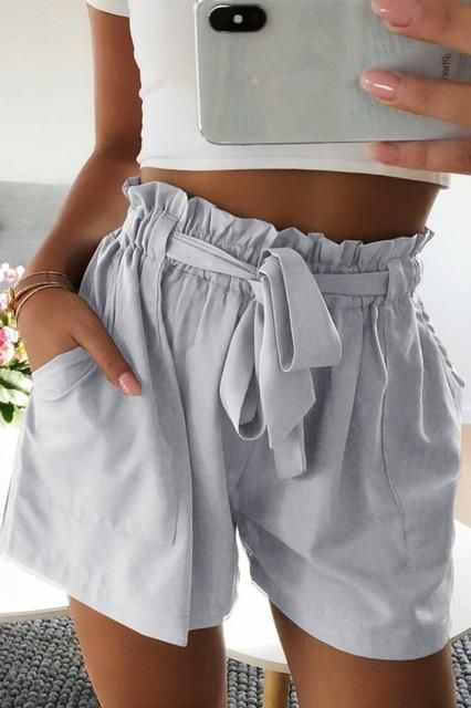 Summer Women A line Shorts Casual For Beach Elastic Shorts S 3XL Fo…