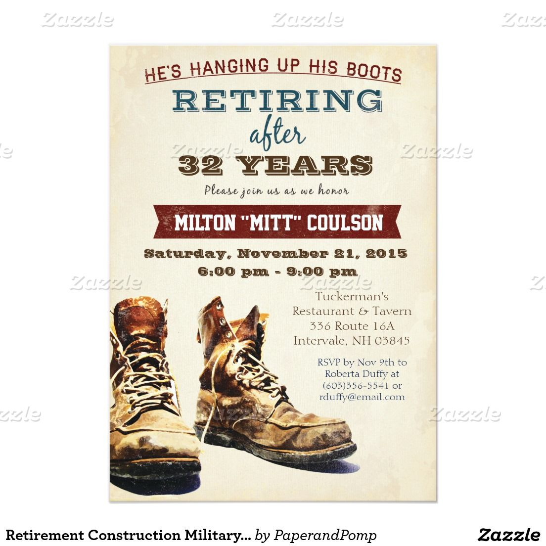 retirement construction military invitation retirement party