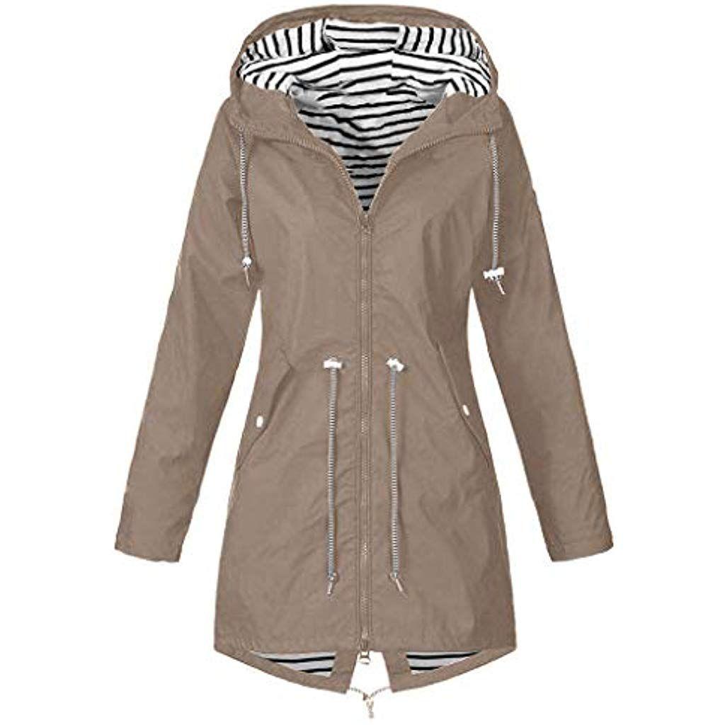 Asalinao 2020 Damen Fr/ühling Herbst Mantel bequem Solide Regenjacke Outdoor Jacken mit Kapuze Regenmantel Winddicht Parka Coat