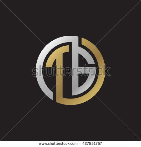 Tg Initial Letters Looping Linked Circle Elegant Logo Golden