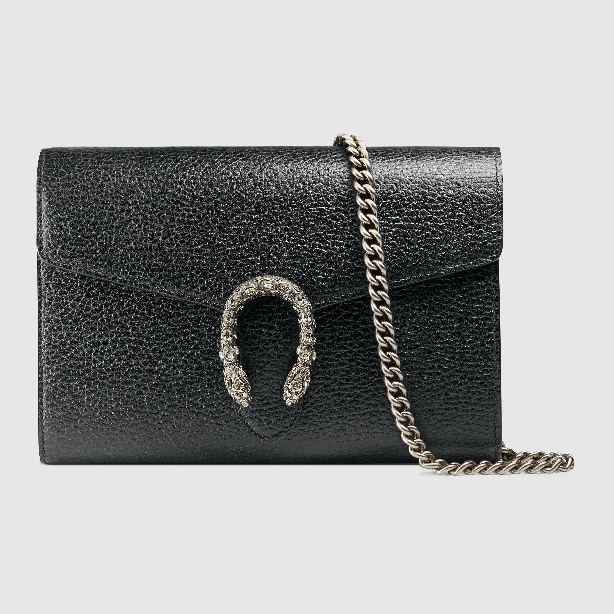 7a0a9c69bd04 Dionysus leather mini chain bag Gucci Dionysus Black, Black Clutch, Black  Wallet, Swarovski