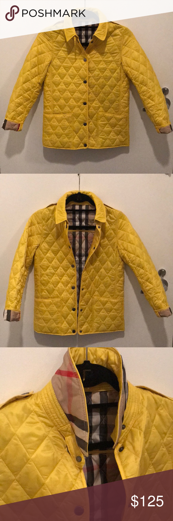 Burberry Childrens Quilted Coat Yellow Sz 12y My Posh Closet