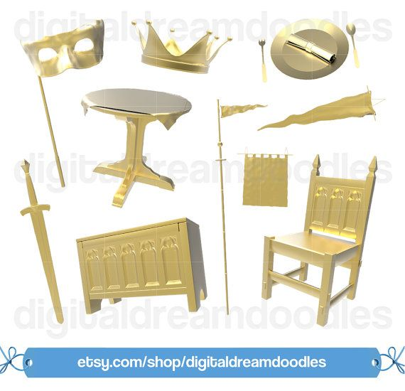 Gold Medieval Clipart, Crown Clipart, Plate Clipart, Banner ...