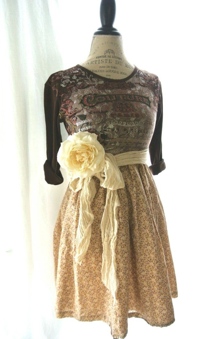 Gypsy Cowgirl Fall Dress Funky Womens Clothing Upcycled Country Chic Shabby Rustic Farmhouse Style Romantic 6800 Via Etsy