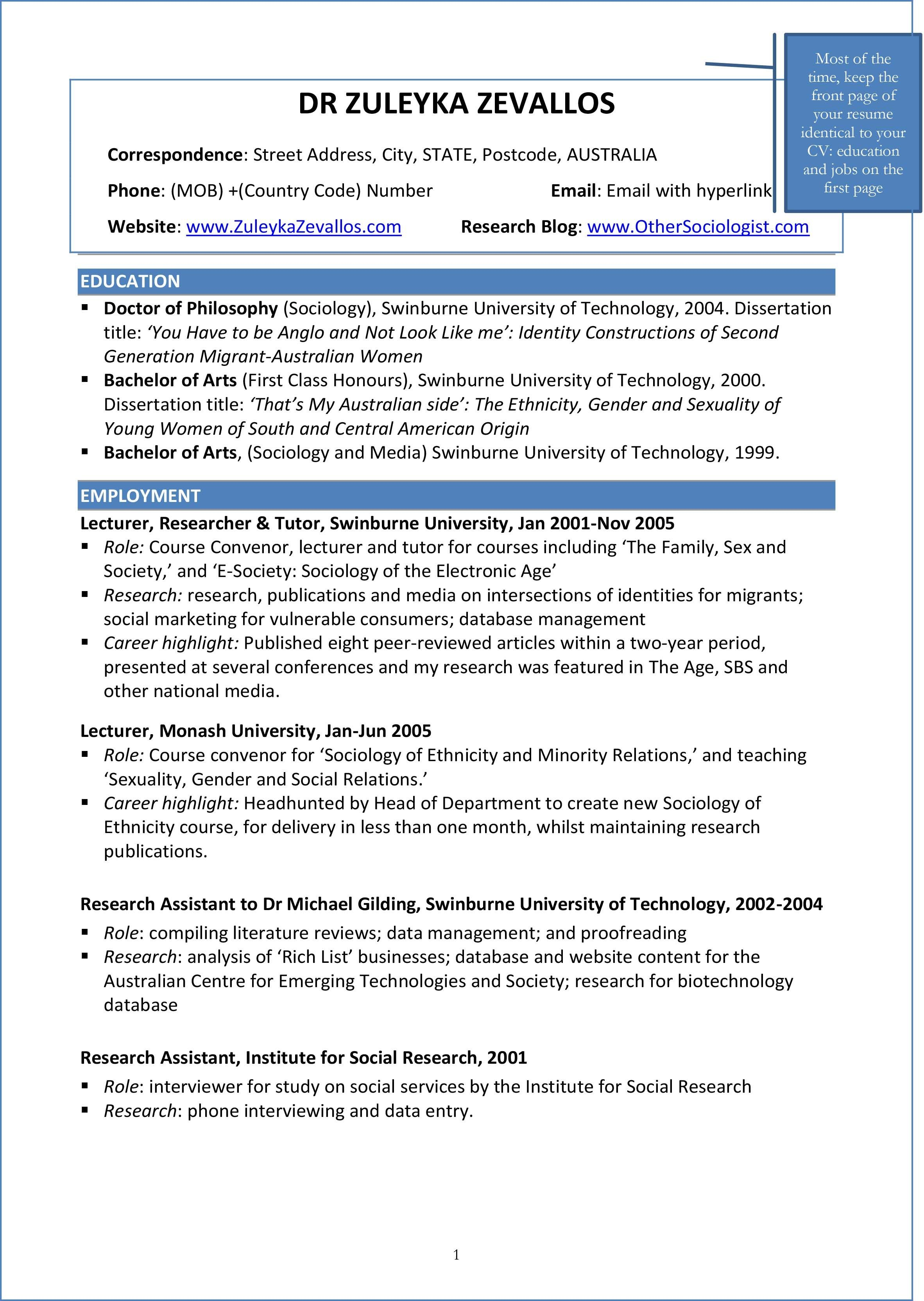 Creating A Cv And Resume For Applied Sociology Jobs Sociology At Work Create A Cv Resume Examples Resume