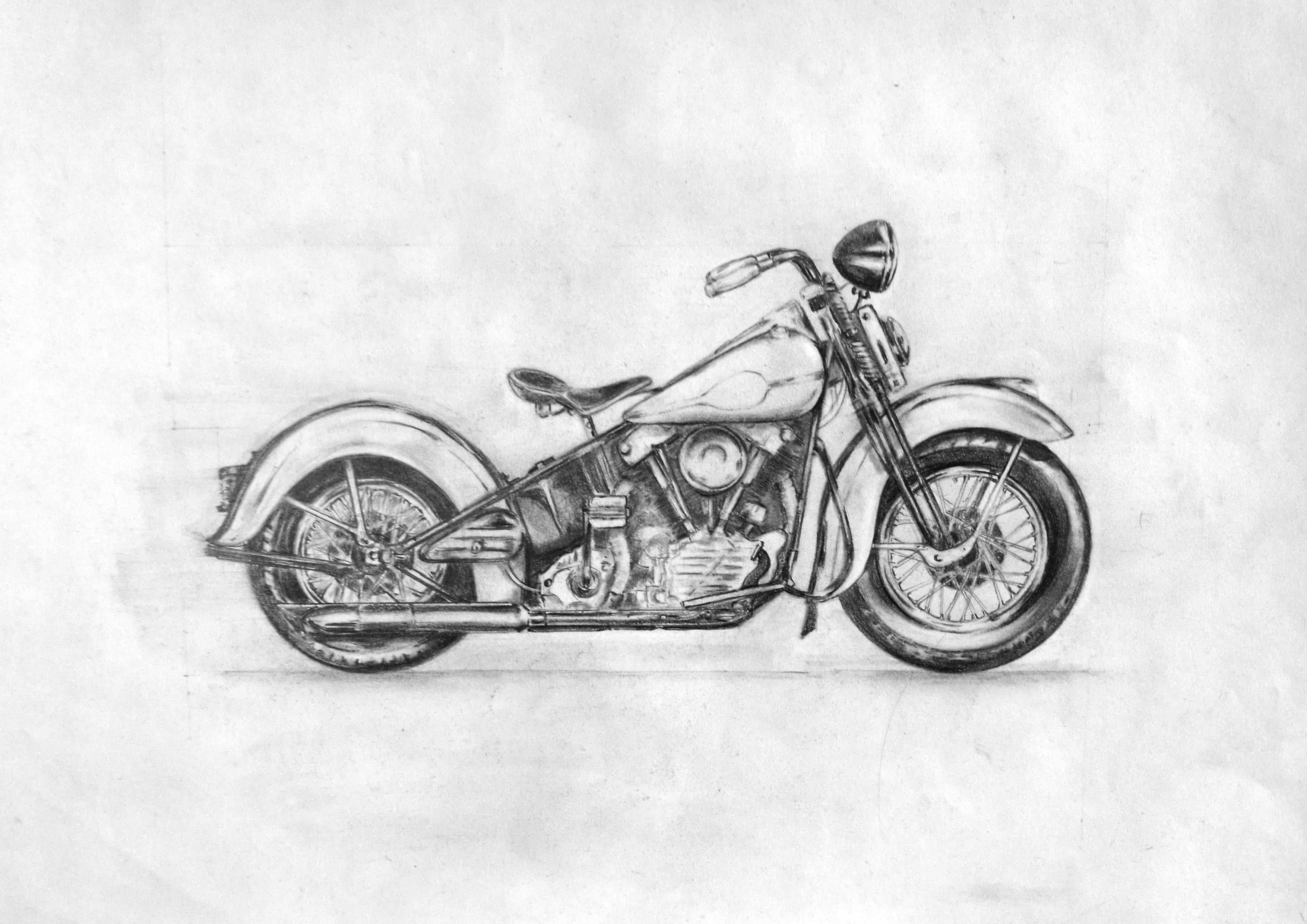 1947 harley davidson knucklehead various pencils on a3 paper