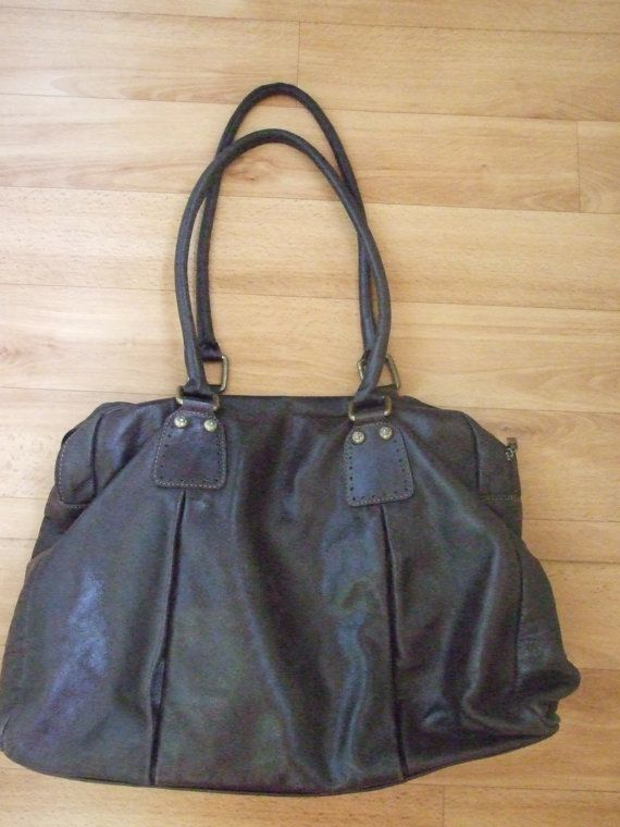 Ferchi Quality Large Genuine Leather Designer Handbag Dark