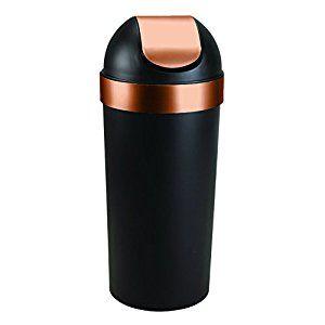 Amazon Com Umbra Venti 16 Gallon Swing Top Trash Can Black Copper Home Kitchen Trash Can Black And Copper Kitchen Kitchen Trash Cans