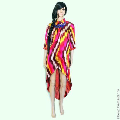 """Купить платье """"Багровый закат"""" - орнамент, восток, восточный стиль, икат, платье, шелк"""