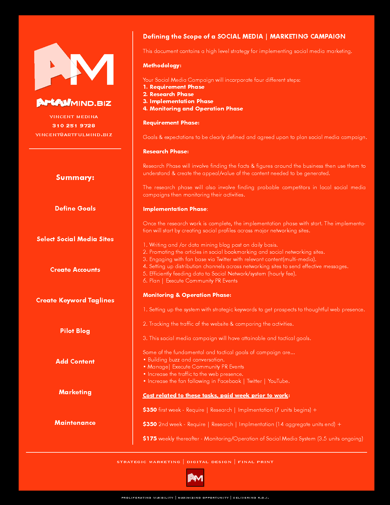 Scope Of Work + Cost Proposal For Social Media Marketing Campaign/management