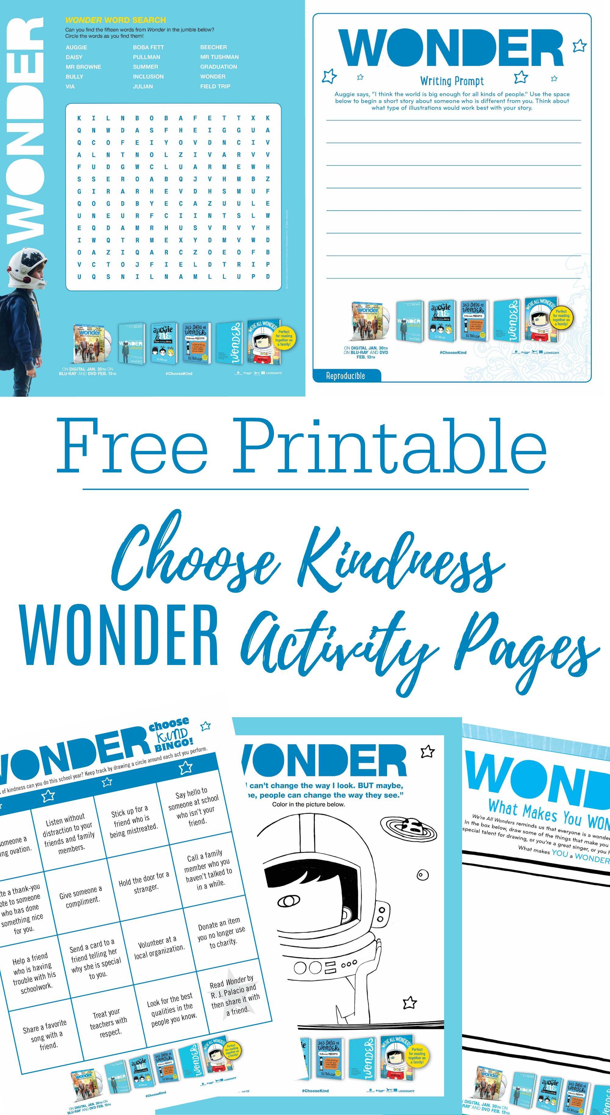 Printable Wonder Activity Sheets Bluray Giveaway