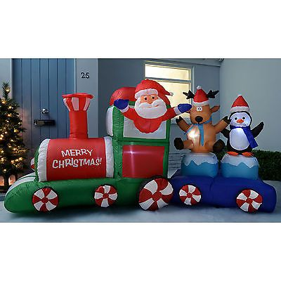 large inflatable santa claus train garden christmas outdoor decoration led lig view