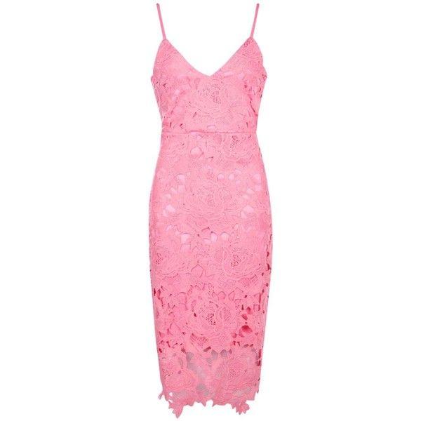08eeb5e0d932 Boohoo Boutique Boutique Fi Crochet Lace Strappy Midi Dress ($52) ❤ liked  on Polyvore featuring dresses, maxi dresses, pink maxi dress, pink cocktail  dress ...