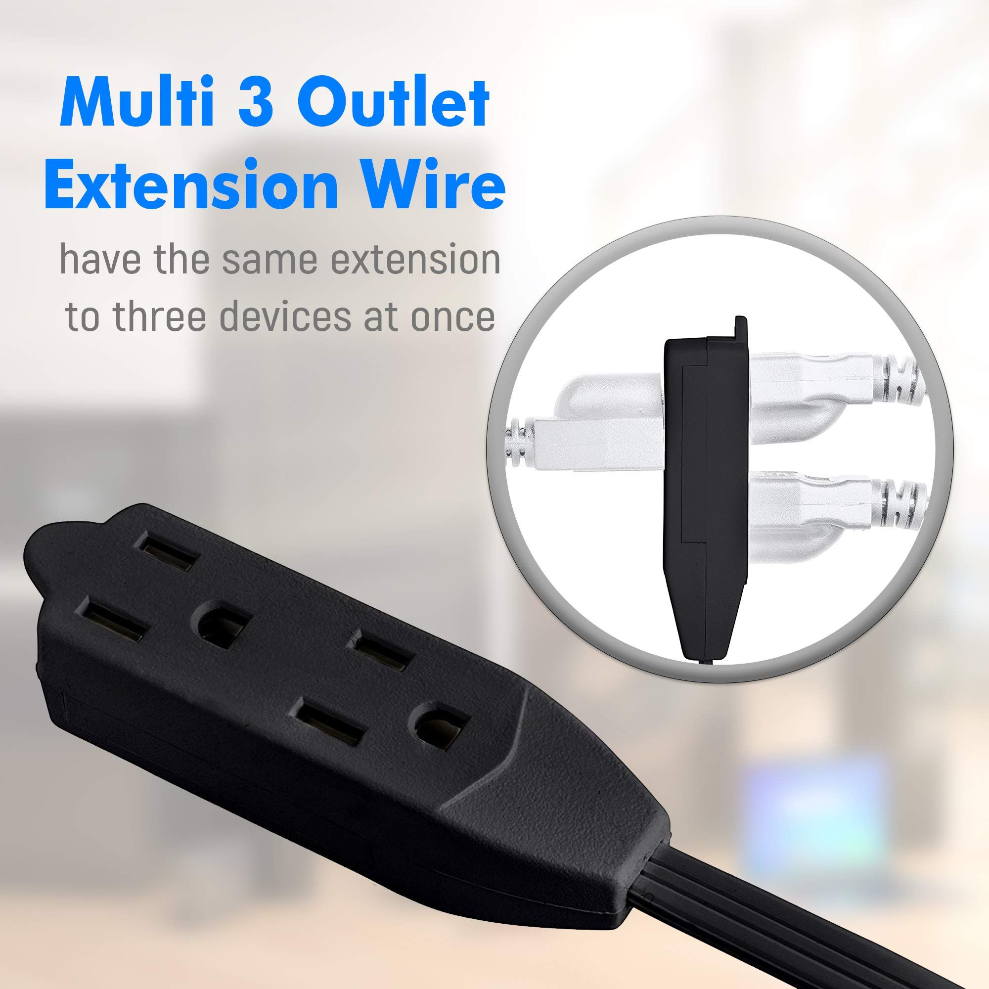 maximm cable 2 ft 360 rotating flat plug extension cord wire 16 awg 24 inch multi 3 outlet extension wire 3 prong grounded wire black ul listed  [ 2000 x 2000 Pixel ]