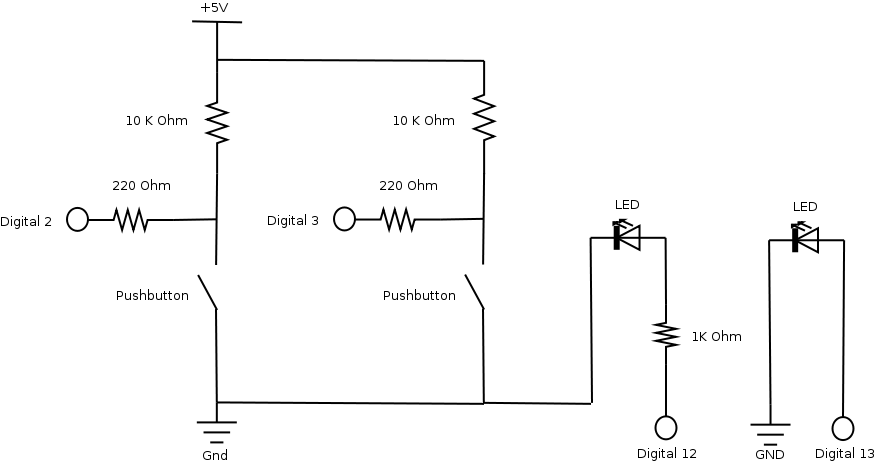 View: Scheme of a simple Arduino based circuit to read the state of two button and communicate their status via serial interface