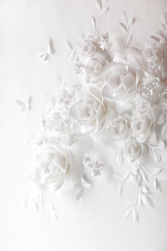 White Wedding Paper Flowers - Paper Flowers- Paper Flowers Wall Decor - Paper Flowers Wall
