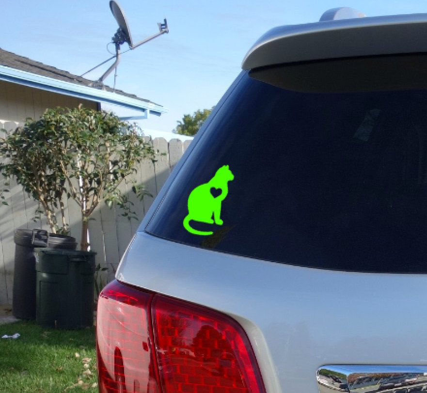 FREE SHIPPING Cat With Heart Vinyl Decal Cat Bowl Cat - Cat custom vinyl decals for car windows