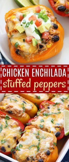 Chicken Enchilada Stuffed Peppers