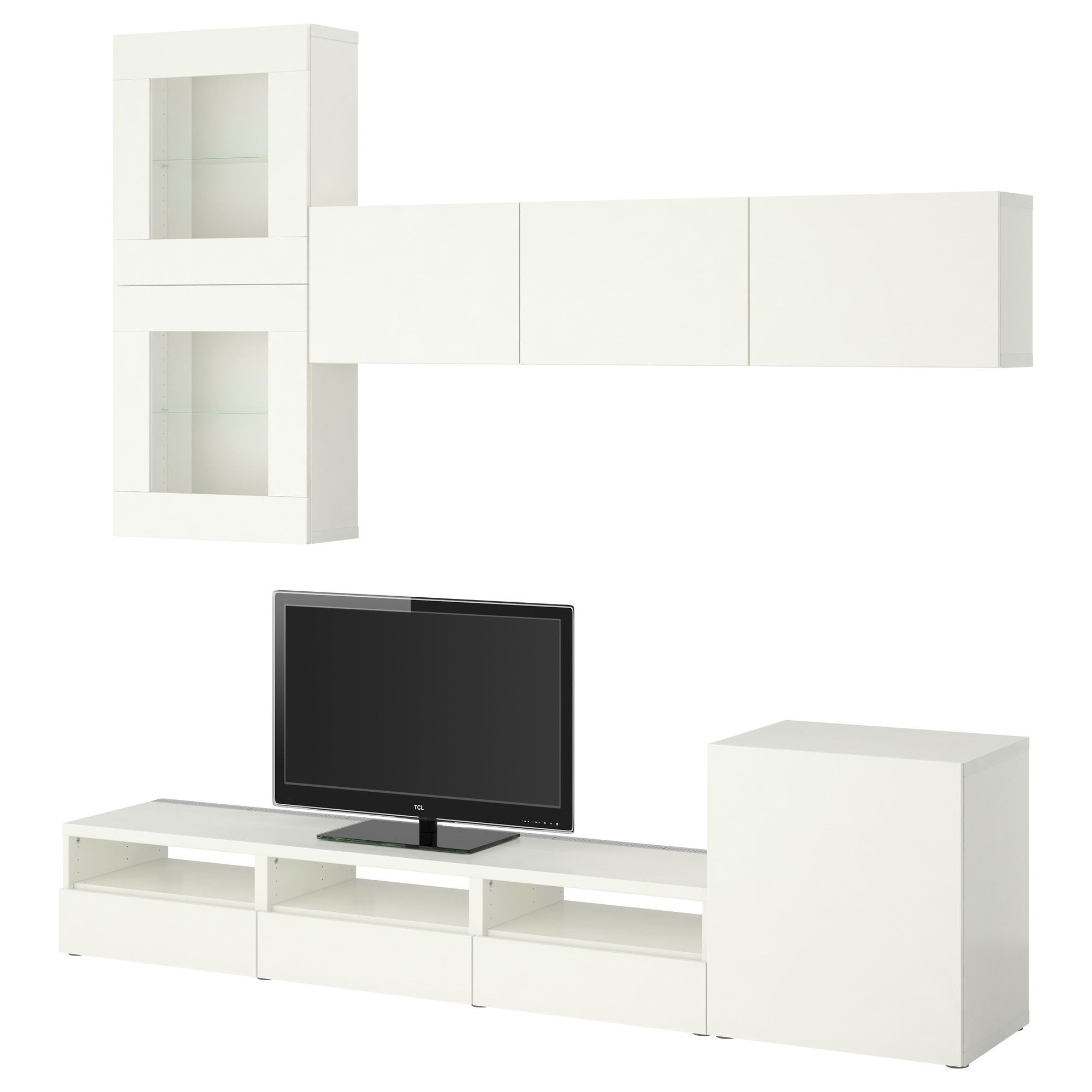 Best Tv Storage Combinationglass Doors Vara White Ikea